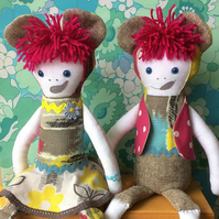 Billie and Bobby BEARCUB TWINS - Rag Dolls in grey candystripe 50s Barkcloth