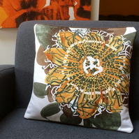 60s  Passion Flower PASSIONATA  Vintage Fabric Cushion