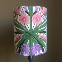 Gorgeous Green and Pink Floral 70s  Vintage Fabric Lampshade