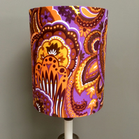 Hippy Psychodelic 60s 70s RETRO Purple and Orange Vintage Fabric Lampshade