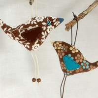 brown Retro bird made with 60s 70s Daisy Fabric