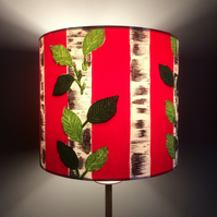 Scandi Style Red and Silver Birch Retro Fabric Lampshade