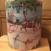 Vintage Country Village Scene Lampshade with People, Horses and Dogs
