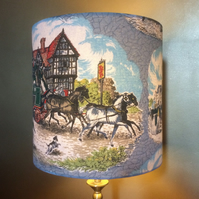 Traditional Coach and Horses Vintage Fabric Lampshade for a Victorian Christmas