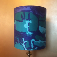 Dramatic Abstract BLUE Vintage Fabric Lampshade