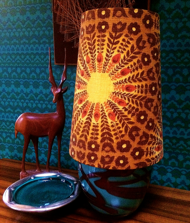 Mid Century Modern style Cone lampshade in a Striking Barkcloth Vintage Fabric