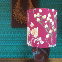 Bold RED Seedhead and Foliage Vintage Fabric Lampshade Rather Good for Christmas
