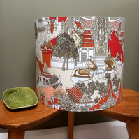Oriental Scene with Elephants Jonelle Vintage Fabric Lampshade