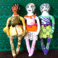 Retro Girls  -  lovely ladies made from vintage and reclaimed fabric