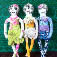Retro Girls  -  pretty ladies made from vintage and reclaimed fabric