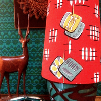Mid Century Modern style Cone lampshade in a 50s RED RETRO Vintage Fabric