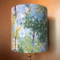 STUNNING Spring Forest Retro Barkcloth VIntage Fabric Lampshade