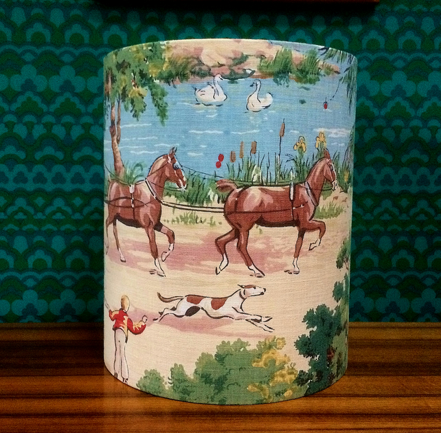 SALE FREE UK POST Vintage Country Village Scene Lampshade People, Horses, Dogs