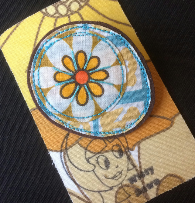 Vintage Fabric Yellow Daisy Floral handmade brooch  - Stocking filler