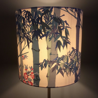 Bamboo Oriental Blue and Red Lampshade