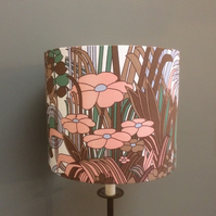 MOD 70s Abstract Ashwell Brown Pink Vintage Fabric Lampshade