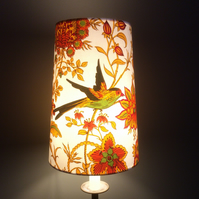 Orange Oriental style Jonelle Spice Island BIRD VIntage fabric Lampshade