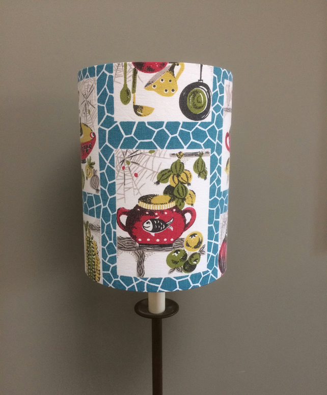 SALE Free UK post Kitsch Kitchenalia 50s 60s Retro MCM Vintage Fabric Lampshade