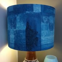 Dramatic Abstract BLUE BARKCLOTH Vintage Fabric Lampshade