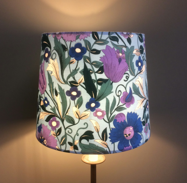 Floral blue and purple 70s Vintage Fabric Lampshade