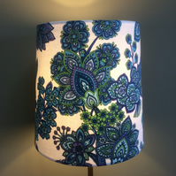 Funky 70s floral blue and purple Vintage Fabric Lampshade