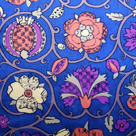 BLue  60s 70s  Jacobian Flower Carolina  Vintage Fabric Lampshade option