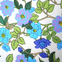 RETRO Blue Lime 70s Wild ROSE Scandi style Fabric Lampshade option