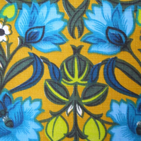 Scandi 60s 70s Blue Lime Mustard Vintage BARKCLOTH Fabric Lampshade option