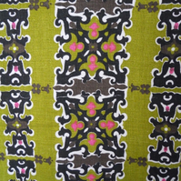 RETRO 60s  Black Lime PINK VIntage BARKCLOTH Fabric Lampshade option