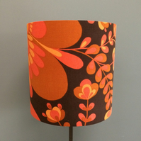 Funky 70s 60s MOD Orange Vintage Fabric Lampshade