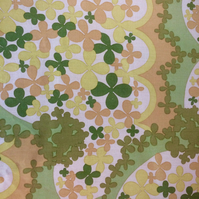 Sandy Green 60s 70s Flower Power Vintage Fabric Lampshade option