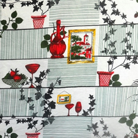 Iconic 50s 60s Homestyle Red Vases Barkcloth Vintage Fabric Lampshade option