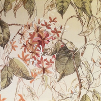 Leaf and Blossom Cantha Sanderson  Vintage Fabric Lampshade option