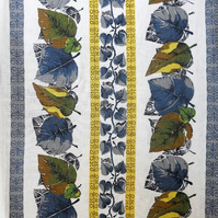 50s Leaf and Stripe Blue Green Yellow Vintage Fabric Lampshade option