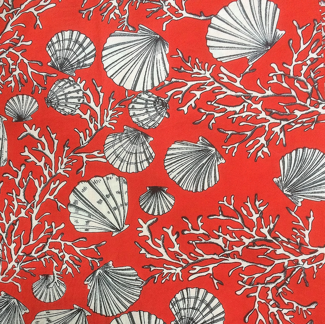50s 60s  RED Seaside Shell Vintage fabric Lampshade option