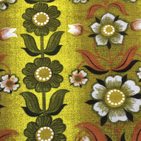 60s 70s RETRO Scandi LIme Brown Floral Barkcloth Vintage Fabric Lampshade option