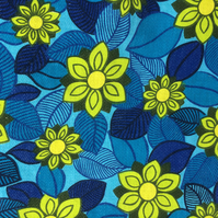 60s 70s RETRO Lime Flowers and Blue Leaf vintage fabric Lampshade option
