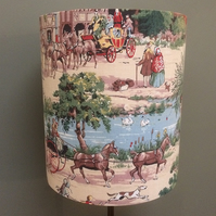 Lovely 30s 40s VILLAGE COUNTRY PUB scene Horses Vintage Fabric Lampshade