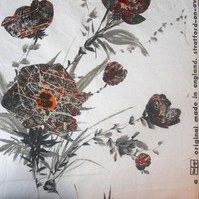Black Flowers a RARE Tibor Vintage Fabric TALL Lampshade option