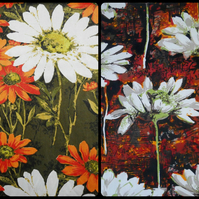 BIG DAISIES white and orange 60s 70s Vintage Fabric Lampshade option