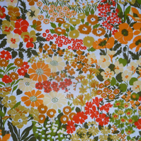 Citrus Summer Flowers COUNTRY GARDEN 70s 60s Vintage Fabric Lampshade option