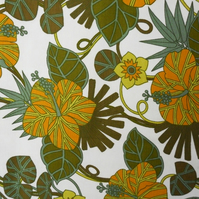 HIBISCUS by Bernard Wardle Yellow Green 60s 70s Vintage Fabric Lampshade option