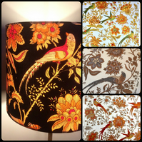 Orange Brown Oriental BIRD Jonelle Spice Island VIntage fabric Lampshade Option