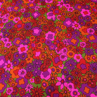 Psychedelic Ditsy Floral 60s 70s  Pink Orange Vintage Fabric Lampshade option