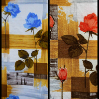 Blue or Orange  ROSE MCM 50s 60s  VIntage Barkcloth Fabric Lampshade option