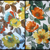 ORANGE Or BLUE Wild ROSE MCM 50s 60s Vintage Barkcloth Fabric Lampshade option