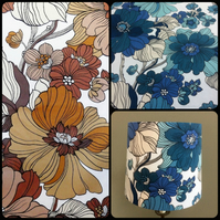 Funky 70s Blue Brown Tropica BIG BOLD Floral STORY Vintage Fabric Lampshade