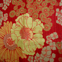 70s Orange Floral LARGO by Sidlaw Textiles VIntage Fabric Lampshade option
