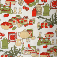 RED and GREEN Kitsch 70s RETRO Kitchenalia VIntage Fabric Lampshade option