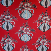 RED Kitsch 50s Atomic Vases Barkcloth VIntage Fabric Lampshade option